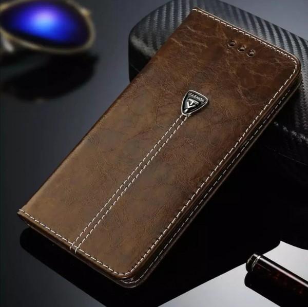 Flip Case Handyhülle Kunstleder Braun Iphone