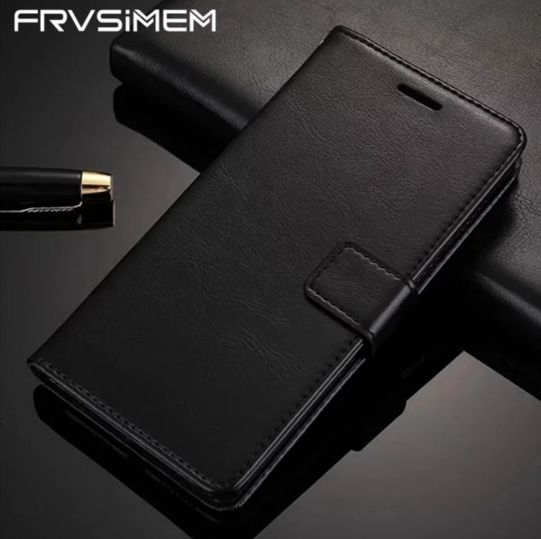 Flip Case Handyhülle Lederlook Schwarz Iphone