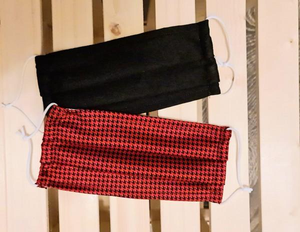 Mundschutz Stoffmaske Baumwolle 2er Set Schwarz Rot