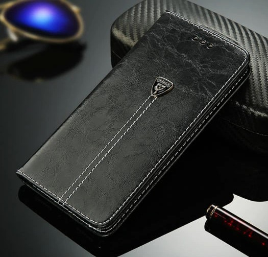 Flip Case Kunstleder Schwarz Iphone