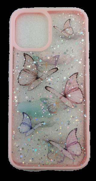 Handyhülle iPhone 12 / Pro / ProMax/ Mini Case Schmetterling Glitzer Pink