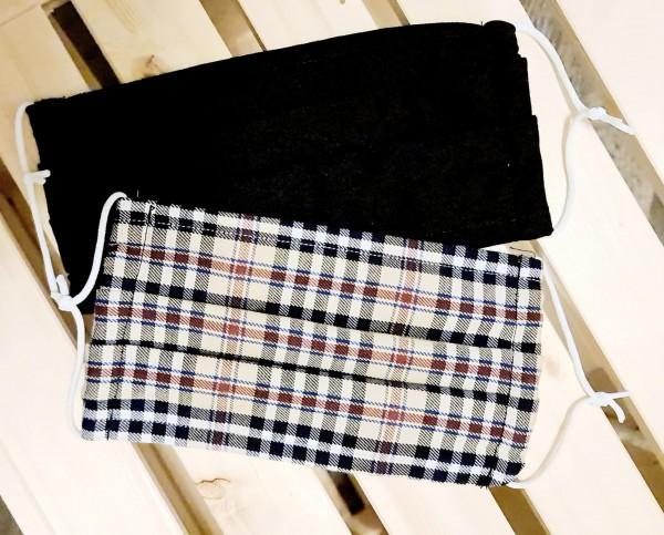 Mundschutz Stoffmaske Baumwolle 2er Set Braun Schwarz
